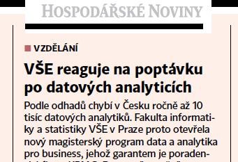 [Napsali o nás] VŠE reaguje na poptávku po datových analyticích